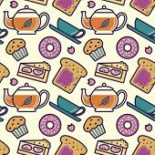 Breakfast or tea party menu food and drinks seamless pattern. Editable vector illustration.