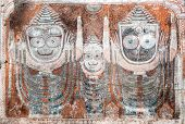 stock photo of jagannath  - An old painting of the Hindu god Jagannatha and his brother and sister - JPG
