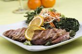 picture of duck breast  - Roast Duck Breast with Orange sauce and Vegetable - JPG