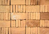 Piled Up Of Brick Stack In A Construction Site
