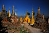 Group Of Ancient Pagodas Of Inn Taing Temple In Myanmar.