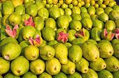 Fresh Sweet Guava Fruits Group In Asia Street Market