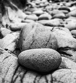 Tilt Shift Effect Image With Shallow Depth Of Field Textured Rocks On Beach Black And White