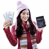 Girl With Calculator And Money Dollars