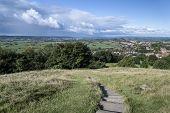 View From Top Of Glastonbury Tor Overlooking Glastonbury Town In England
