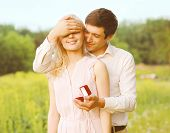 Boyfriend Closed His Eyes A Girl, Making A Surprise Ring, Romance, Engagement ,wedding - Concept