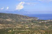 Aegean coast and Mount Athos.