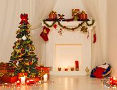 Christmas Room Interior Design, Xmas Tree Decorated By Lights Presents Gifts Toys, Fireplace