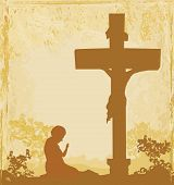 Prayers By The Cross, Grunge Background