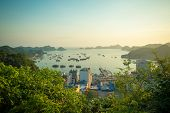 Sunset over Halong bay and Catba