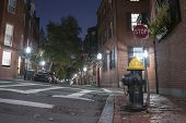 Narrow Street In Beacon Hill At Night, Boston.