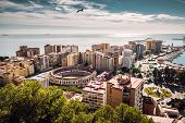 Aerial View Of Malaga Bullring And Harbor. Spain