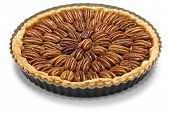 picture of pecan  - homemade pecan pie isolated on white background - JPG