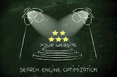 stock photo of ebusiness  - conceptual spotlight illustration about search engine optimization - JPG