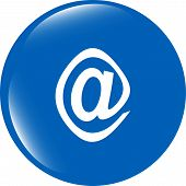 E-mail Icon Glossy Button Isolated On White