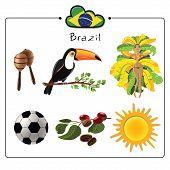 pic of brazilian carnival  - Vector set of six cultural brazilian symbols - JPG
