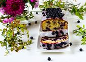 Cake With Bilberry On A White Background