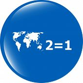 Two For One Sign Icon. Take Two Pay For One Sale Button