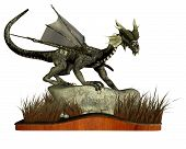 picture of plinth  - Digital render of a dragon standing on a rock surrounded by long grass - JPG