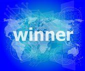 Winner, Green Digital Background, Global Internet Concept