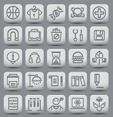 25 school and college buttons with icons