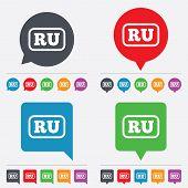 Vector Russian language sign icon. RU translation