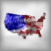 Usa Map Geometric Polygonal Design