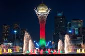 Bayterek Tower And  Fountain Show At Night