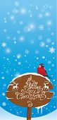 Vretical Card With Bullfinch Bird And Wooden Sign On Light Blue Sky Background.  Handwritten Text A