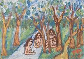 picture of nudism  - Painting of the beautiful nude girls bathing in the river - JPG