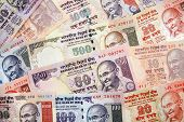 Modern Indian Rupees Paper Currency Arrangement
