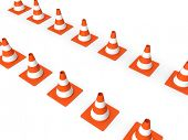 3d rendered illustration of traffic cones standing in lines