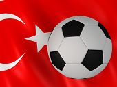 turkish flag behind a football