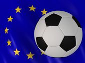 european flag behind a football