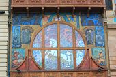 interesting stained-glass window on building of National Bank in Batumi