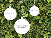Vector evergreen christmas tree Christmas ornaments silhouettes pattern frame card template