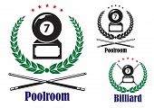 Billiard or pool badges or emblems