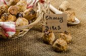 pic of love bite  - Cheesy bites with seeds wine in wicker basket nice gift - JPG