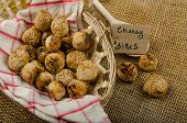 image of love bite  - Cheesy bites with seeds wine in wicker basket nice gift - JPG