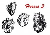foto of horse face  - Black and white cartoon horse characters head icons with flowing manes - JPG