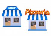 Cartoon store and pizzeria icons
