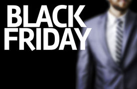 pic of friday  - Business man with the text Happy Black Friday in a concept image - JPG