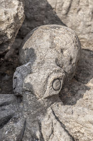 picture of chisel  - From stone chiseled Octopus at the Red Beach near Matala - JPG