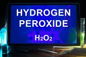 image of hydrogen  - Tablet with chemical formula of  hydrogen peroxide - JPG