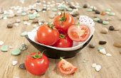 pic of household farm  - bowl of tomatoes on the wooden table - JPG