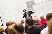 image of entrepreneurship  - Speaker Giving a Talk at Business Meeting - JPG