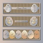 image of cony  - Three elegant banners with easter eggs and rabbits in pastel colors on the knitted background - JPG