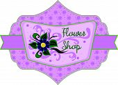 pic of flower shop  - Flower shop label with flower and text - JPG