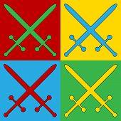 stock photo of longsword  - Pop art crossed swords symbol icons - JPG