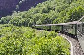 stock photo of railcar  - Flamsbana train in motion during the journey - JPG